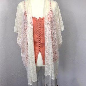 Off White Cream Lace Fringe Kimono Swim Coverup